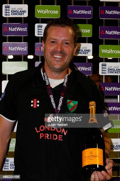 Chris Peploe of Ealing with The Man of The Match award after the final match of The NatWest Club T20 Finals day between Exmouth Cricket Club and...