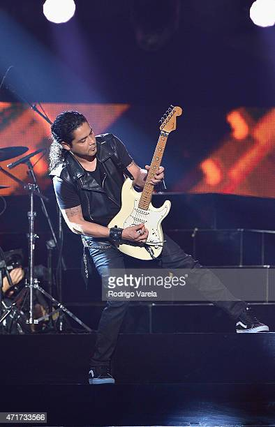 Chris Perez of Los Dinos performs musical tribute to Selena while performing with Jennifer Lopez onstage at the 2015 Billboard Latin Music Awards...