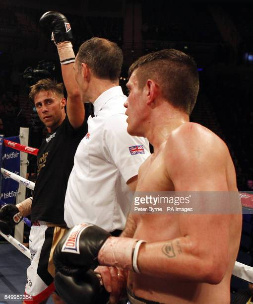 Chris PerryMetcalf celebrates defeating Liam Griffiths in their Welterweight bout at the Echo Arena Liverpool PRESS ASSOCIATION Photo Picture date...