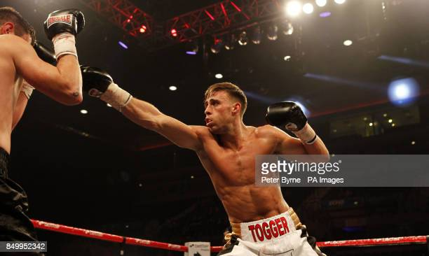 Chris PerryMetcalf in action against Liam Griffiths in their Welterweight bout at the Echo Arena Liverpool PRESS ASSOCIATION Photo Picture date...