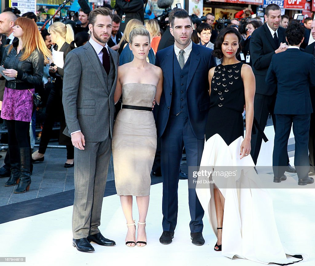 <a gi-track='captionPersonalityLinkClicked' href=/galleries/search?phrase=Chris+Pine&family=editorial&specificpeople=641995 ng-click='$event.stopPropagation()'>Chris Pine</a>, <a gi-track='captionPersonalityLinkClicked' href=/galleries/search?phrase=Alice+Eve+-+Actress&family=editorial&specificpeople=570229 ng-click='$event.stopPropagation()'>Alice Eve</a>, <a gi-track='captionPersonalityLinkClicked' href=/galleries/search?phrase=Zachary+Quinto&family=editorial&specificpeople=715956 ng-click='$event.stopPropagation()'>Zachary Quinto</a> and <a gi-track='captionPersonalityLinkClicked' href=/galleries/search?phrase=Zoe+Saldana&family=editorial&specificpeople=542691 ng-click='$event.stopPropagation()'>Zoe Saldana</a> attend the UK Premiere of 'Star Trek Into Darkness' at The Empire Cinema on May 2, 2013 in London, England.