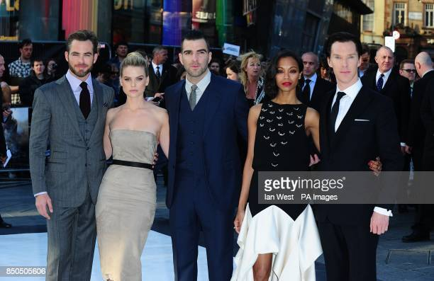 Chris Pine Alice Eve Zachary Quinto Zoe Saldana and Benedict Cumberbatch arriving for the premiere of Star Trek Into Darkness at the Empire Leicester...