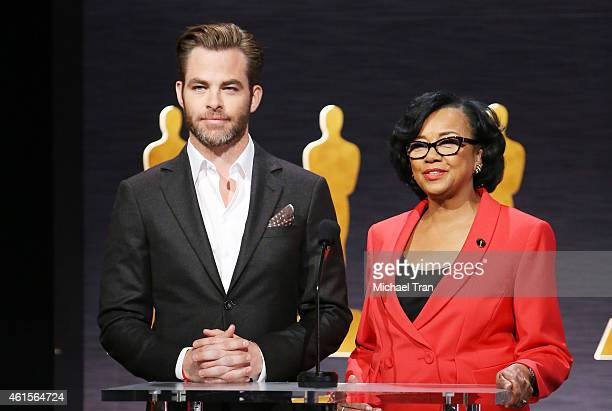Chris Pine and Academy president Cheryl Boone Isaacs speak onstage during the 87th Oscars nominations announcement held at AMPAS Samuel Goldwyn...