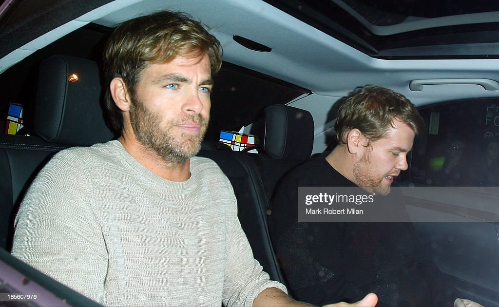 <a gi-track='captionPersonalityLinkClicked' href=/galleries/search?phrase=Chris+Pine&family=editorial&specificpeople=641995 ng-click='$event.stopPropagation()'>Chris Pine</a> and <a gi-track='captionPersonalityLinkClicked' href=/galleries/search?phrase=James+Corden&family=editorial&specificpeople=673860 ng-click='$event.stopPropagation()'>James Corden</a> at the Groucho club on October 22, 2013 in London, England.