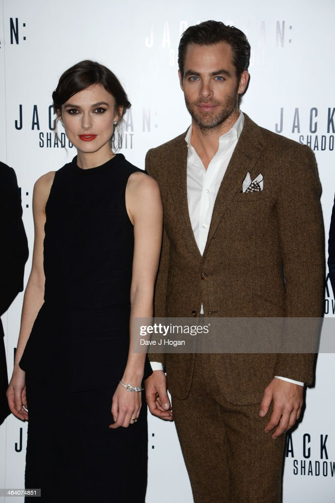 <a gi-track='captionPersonalityLinkClicked' href=/galleries/search?phrase=Chris+Pine&family=editorial&specificpeople=641995 ng-click='$event.stopPropagation()'>Chris Pine</a> and <a gi-track='captionPersonalityLinkClicked' href=/galleries/search?phrase=Keira+Knightley&family=editorial&specificpeople=202053 ng-click='$event.stopPropagation()'>Keira Knightley</a> attend the UK premiere of 'Jack Ryan: Shadow Recruit' on January 20, 2014 in London, England.