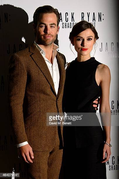 Chris Pine and Keira Knightley attend the UK Premiere of 'Jack Ryan Shadow Recruit' at the Vue Leicester Square on January 20 2014 in London England