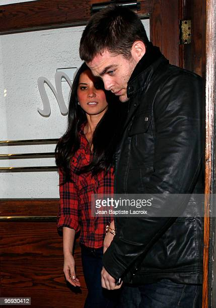 Chris Pine and Olivia Munn are seen leaving Madeo restaurant on January 21 2010 in Los Angeles California