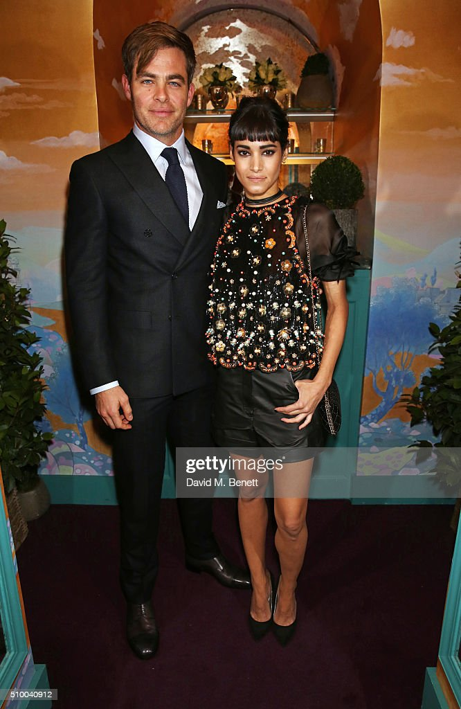 Chris Pine (L) and Sofia Boutella attend the Charles Finch and Chanel Pre-BAFTA cocktail party and dinner at Annabel's on February 13, 2016 in London, England.