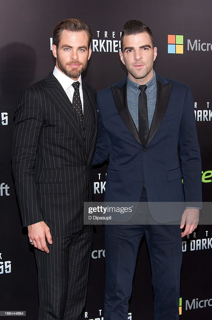 Chris Pine (L) and Zachary Quinto attend the 'Star Trek Into Darkness' screening at AMC Loews Lincoln Square on May 9, 2013 in New York City.