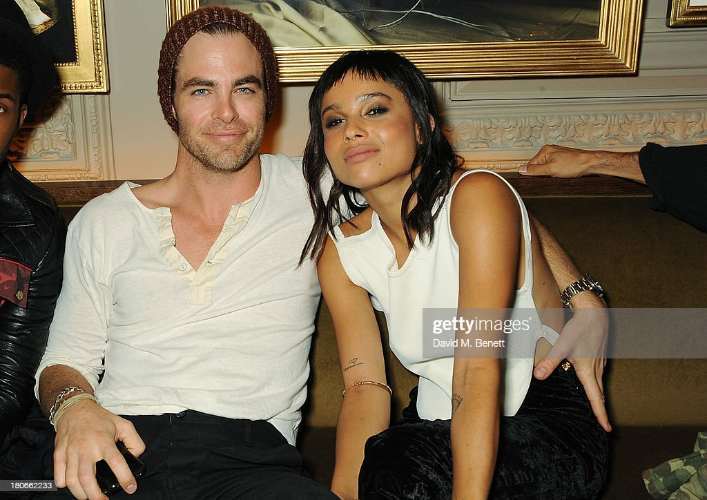 <a gi-track='captionPersonalityLinkClicked' href=/galleries/search?phrase=Chris+Pine&family=editorial&specificpeople=641995 ng-click='$event.stopPropagation()'>Chris Pine</a> and Zoe Kravitz attend The London Edition opening celebrating the September issue of W Magazine at The London Edition Hotel on September 14, 2013 in London, England.
