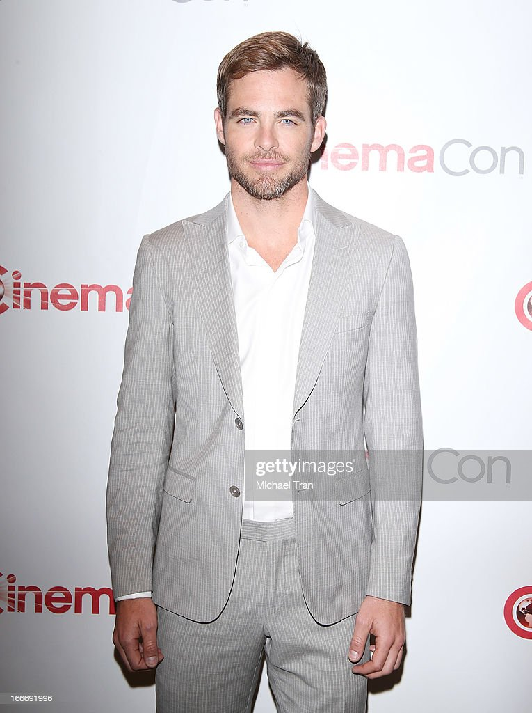 Chris Pine arrives at a Paramount Pictures presentation to promote upcoming films, held at Caesars Palace during CinemaCon, the official convention of the National Association of Theatre Owners on April 15, 2013 in Las Vegas, Nevada.