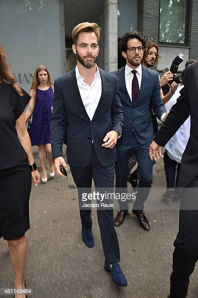 Chris Pine arrives at Giorgio Armani show during Milan Fashion Week Menswear Spring/Summer 2015 on June 24 2014 in Milan Italy