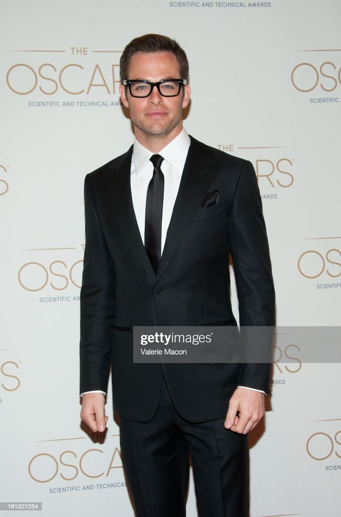 <a gi-track='captionPersonalityLinkClicked' href=/galleries/search?phrase=Chris+Pine&family=editorial&specificpeople=641995 ng-click='$event.stopPropagation()'>Chris Pine</a> arrives at the Academy Of Motion Picture Arts And Sciences' Scientific & Technical Awards at Beverly Hills Hotel on February 9, 2013 in Beverly Hills, California.