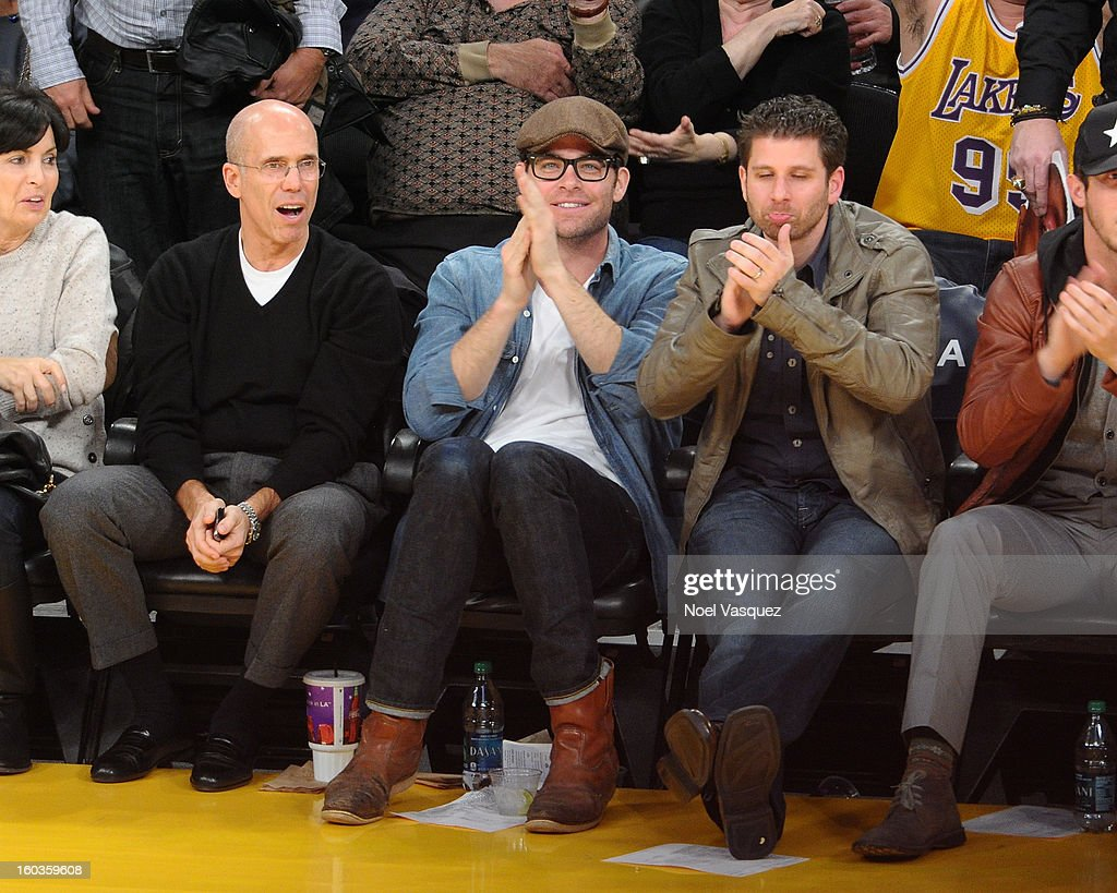 <a gi-track='captionPersonalityLinkClicked' href=/galleries/search?phrase=Chris+Pine&family=editorial&specificpeople=641995 ng-click='$event.stopPropagation()'>Chris Pine</a> attends a basketball game between the New Orleans Hornets and the Los Angeles Lakers at Staples Center on January 29, 2013 in Los Angeles, California.