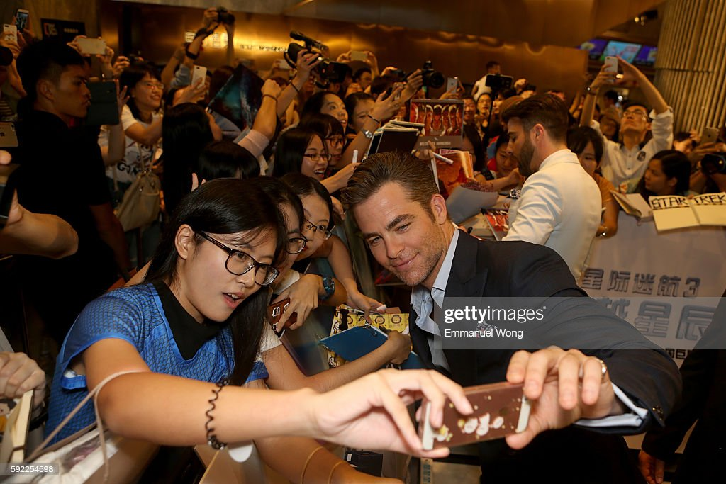 Chris Pine attends a red carpet fan screening during the promotional tour of the Paramount Pictures title 'Star Trek Beyond' on August 20 2016 at...
