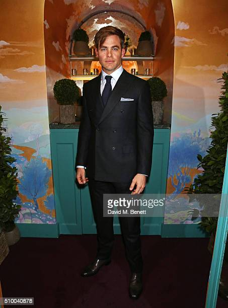 Chris Pine attends the Charles Finch and Chanel PreBAFTA cocktail party and dinner at Annabel's on February 13 2016 in London England