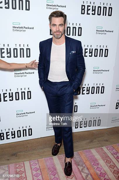 Chris Pine attends the 'Star Trek Beyond' New York premiere at Crosby Street Hotel on July 18 2016 in New York City