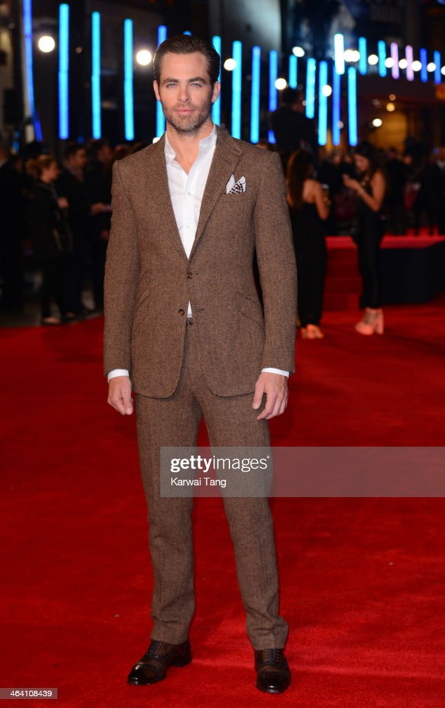 <a gi-track='captionPersonalityLinkClicked' href=/galleries/search?phrase=Chris+Pine&family=editorial&specificpeople=641995 ng-click='$event.stopPropagation()'>Chris Pine</a> attends the UK Premiere of 'Jack Ryan: Shadow Recruit' at the Vue Leicester Square on January 20, 2014 in London, England.