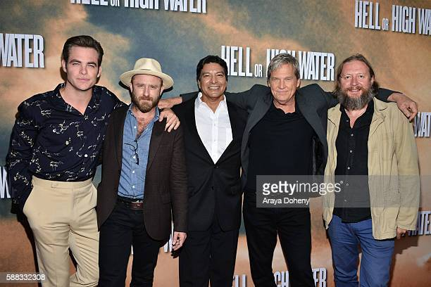 Chris Pine Ben Foster Gil Birmingham Jeff Bridges and David Mackenzie arrive at the screening of CBS Films' 'Hell Or High Water' at ArcLight...