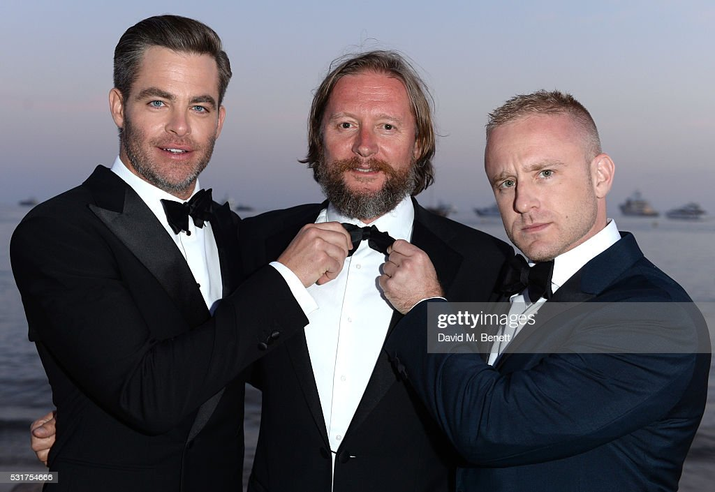 Chris Pine Director David Mackenzie and Ben Foster attend Sierra Affinity's Hell Or High Water Party at Nikki Beach on May 16 2016 in Cannes France