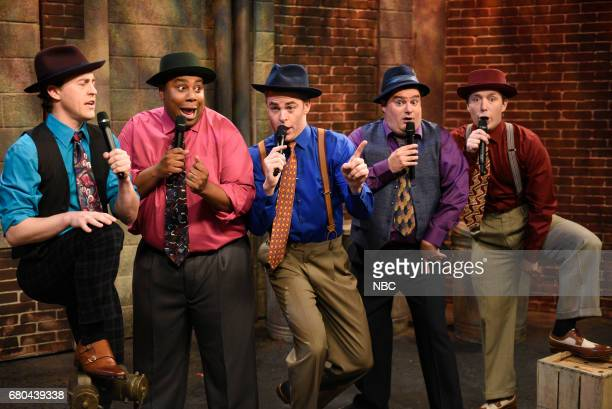 LIVE 'Chris Pine' Episode 1723 Pictured Alex Moffat Kenan Thompson Chris Pine Bobby Moynihan and Beck Bennett as doo wop singers during 'Where in the...