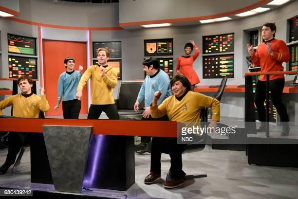 LIVE 'Chris Pine' Episode 1723 Pictured Alex Moffat Kyle Mooney as Spock Chris Pine as Captain James T Kirk Bobby Moynihan as Spocko/Sal Delabate...