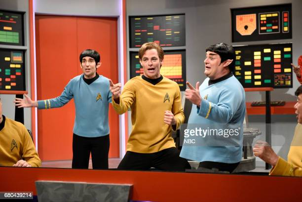 LIVE 'Chris Pine' Episode 1723 Pictured Kyle Mooney as Spock Chris Pine as Captain James T Kirk Bobby Moynihan as Spocko/Sal Delabate during 'Star...