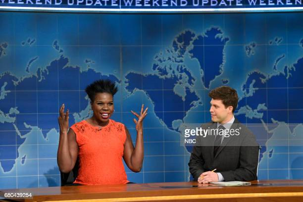 LIVE 'Chris Pine' Episode 1723 Pictured Leslie Jones and Colin Jost during 'Weekend Update' in studio 8H on May 6 2017