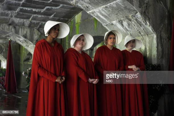 LIVE 'Chris Pine' Episode 1723 Pictured Sasheer Zamata and Aidy Bryant as Handmaidens Cecily Strong as Offred Vanessa Bayer as a Handmaid during 'The...