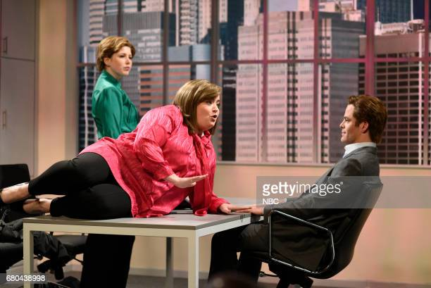 LIVE 'Chris Pine' Episode 1723 Pictured Vanessa Bayer as Nadine Aidy Bryant as Liz Chris Pine as Michael during 'HR Meeting' in studio 8H on May 6...