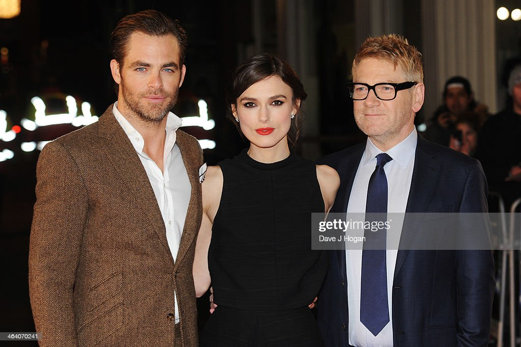 <a gi-track='captionPersonalityLinkClicked' href=/galleries/search?phrase=Chris+Pine&family=editorial&specificpeople=641995 ng-click='$event.stopPropagation()'>Chris Pine</a>, <a gi-track='captionPersonalityLinkClicked' href=/galleries/search?phrase=Keira+Knightley&family=editorial&specificpeople=202053 ng-click='$event.stopPropagation()'>Keira Knightley</a> and <a gi-track='captionPersonalityLinkClicked' href=/galleries/search?phrase=Kenneth+Branagh&family=editorial&specificpeople=213618 ng-click='$event.stopPropagation()'>Kenneth Branagh</a> attend the UK premiere of 'Jack Ryan: Shadow Recruit' on January 20, 2014 in London, England.