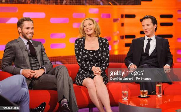 Chris Pine Kim Cattrall and Benedict Cumberbatch during the filming of the Graham Norton Show at The London Studios south London to be aired on BBC...