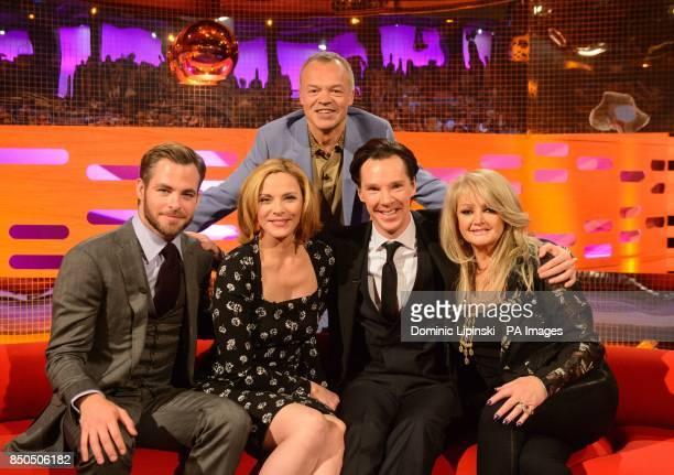 Chris Pine Kim Cattrall host Graham Norton Benedict Cumberbatch and Bonnie Tyler during the filming of the Graham Norton Show at The London Studios...