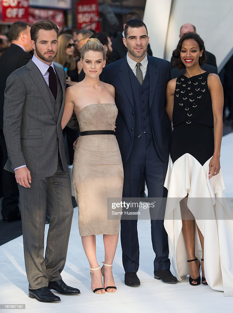 <a gi-track='captionPersonalityLinkClicked' href=/galleries/search?phrase=Chris+Pine&family=editorial&specificpeople=641995 ng-click='$event.stopPropagation()'>Chris Pine</a>, Zachary Quinto, <a gi-track='captionPersonalityLinkClicked' href=/galleries/search?phrase=Zoe+Saldana&family=editorial&specificpeople=542691 ng-click='$event.stopPropagation()'>Zoe Saldana</a> and <a gi-track='captionPersonalityLinkClicked' href=/galleries/search?phrase=Alice+Eve+-+Actress&family=editorial&specificpeople=570229 ng-click='$event.stopPropagation()'>Alice Eve</a> attend the UK Premiere of 'Star Trek Into Darkness' at The Empire Cinema on May 2, 2013 in London, England.