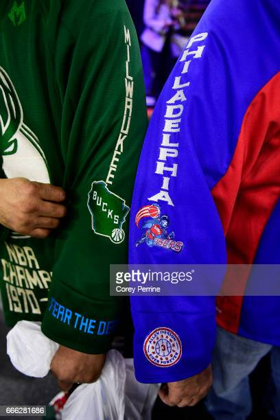 Chris Porcher and friend Frank Latin both of Harrisburg Pennsylvania show off their jerseys before the Philadelphia 76ers host the Philadelphia 76ers...