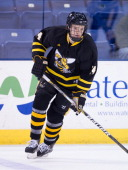 Chris Porter of the American International College Yellow Jackets warmsup before NCAA hockey action against the Massachusetts Lowell River Hawks at...