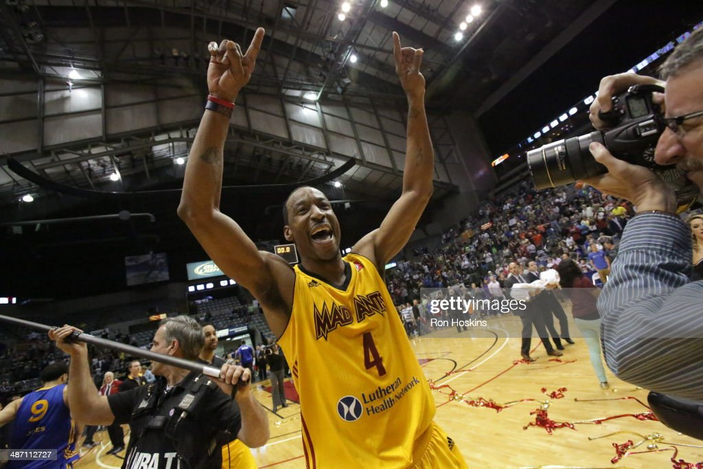 Chris Porter #4 of the Fort Wayne Mad Ants celebrates after defeating the Santa Cruz Warriors for the National Basketball Developmental League Championship at Allen County Memorial Coliseum on April 26, 2014 in Fort Wayne, Indiana.
