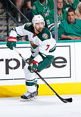 Chris Porter of the Minnesota Wild handles the puck against the Dallas Stars in Game Two of the Western Conference Quarterfinals during the 2016 NHL...