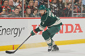 Chris Porter of the Minnesota Wild handles the puck against the Dallas Stars in Game Three of the Western Conference First Round during the 2016 NHL...