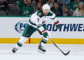 Chris Porter of the Minnesota Wild skates against the Dallas Stars at the American Airlines Center on November 14 2015 in Dallas Texas