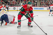 Chris Porter of the Minnesota Wild skates to the puck against the Florida Panthers during the game on February 28 2016 at the Xcel Energy Center in...
