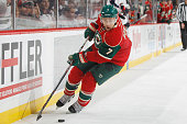 Chris Porter of the Minnesota Wild skates with the puck against the Columbus Blue Jackets during the game on October 22 2015 at the Xcel Energy...