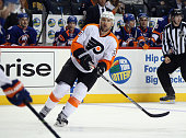 Chris Porter of the Philadelphia Flyers skates against the New York Islanders during a preseason game at the Barclays Center on September 21 2015 in...