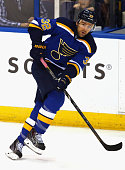 Chris Porter of the St Louis Blues plays against the Calgary Flames during the game at the Scottrade Center on October 11 2014 in St Louis Missouri