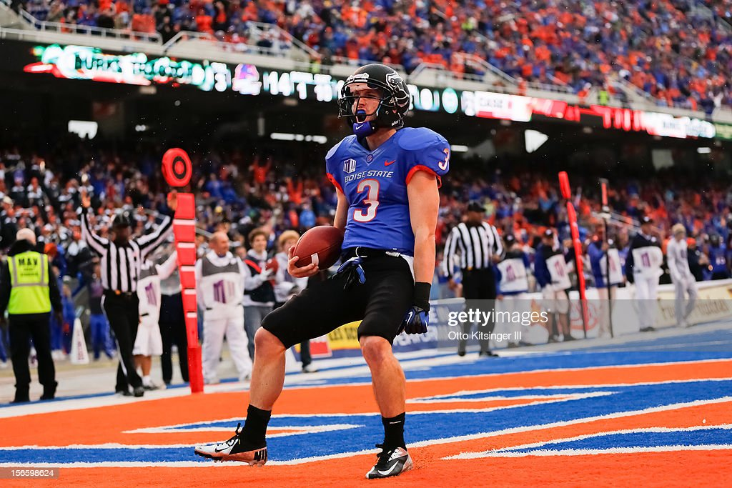 Chris Potter of the Boise State Broncos celebrates a touchdown against the Colorado State Rams at Bronco Stadium on November 17 2012 in Boise Idaho