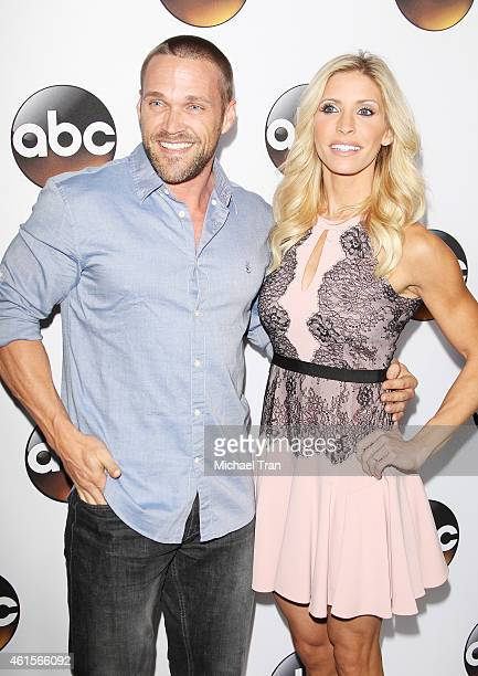 Chris Powell and Heidi Powell arrive at the Disney ABC Television Group's TCA Winter press tour held at The Langham Huntington Hotel and Spa on...