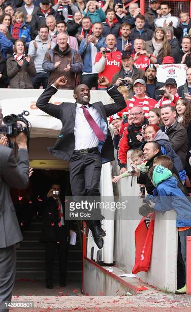 Chris Powell Manager of Charlton jumps for joy after winning the npower League One match between Charlton Athletic and Hartlepool United at The...