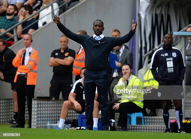Chris Powell Manager of Huddersfield Town appeals on the touch line during the Sky Bet Championship match between Hull City and Huddersfield Town at...