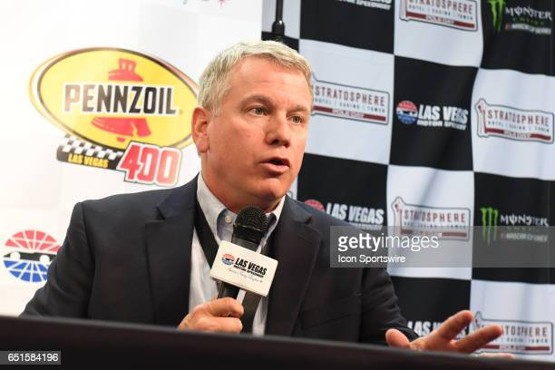 Chris Powell President and General Manager speaks during an announcement of the new sponsorship and Pennzoil 400 race for 2018 at LVMS on...