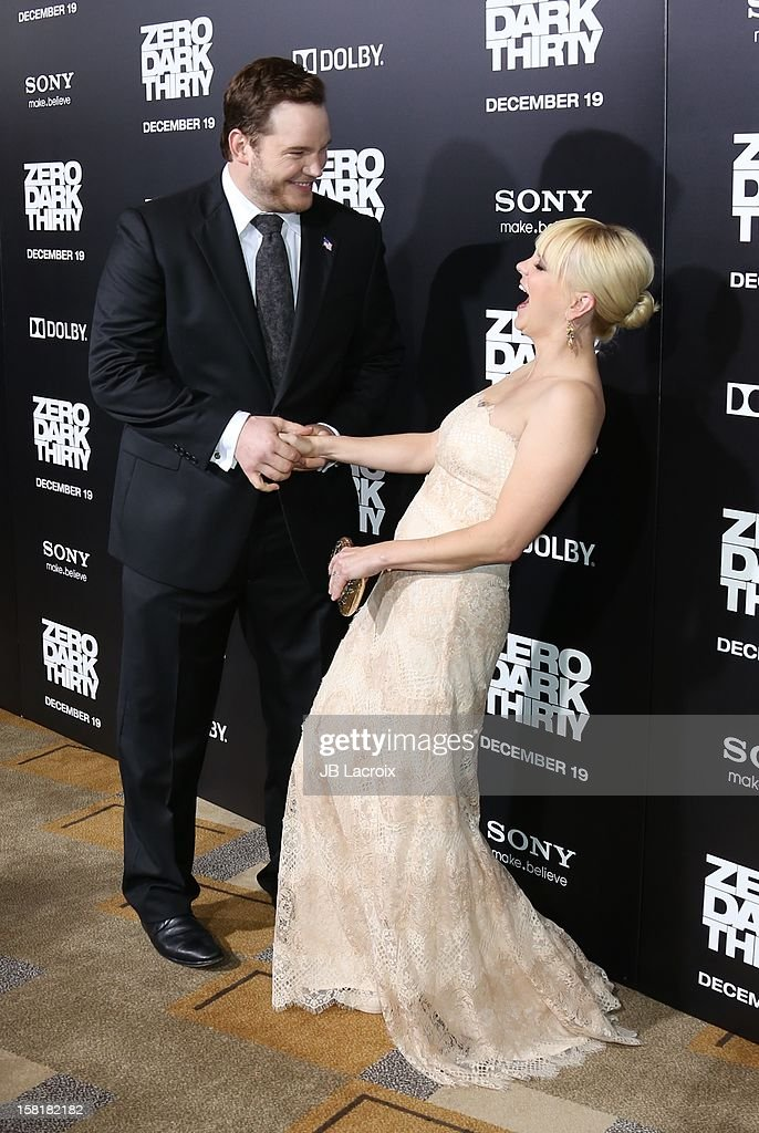 Chris Pratt and Anna Faris attend the 'Zero Dark Thirty' Los Angeles premiere at Dolby Theatre on December 10, 2012 in Hollywood, California.